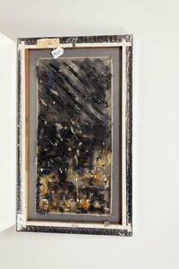 Abstract Mixed Media Painting. Oil on Silver Lame Screen Fabric