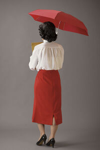 Office Lady With A Red Umbrella