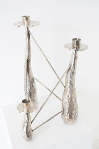 Sculptural silver chandelier