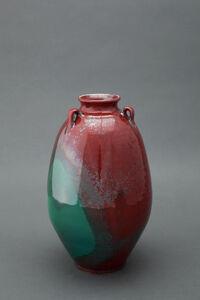 Edo jar, Chinese blue and red glaze