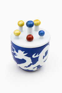 Small Jar with Spheres in Three Colors with Design of Dragon in Fukizumi Style