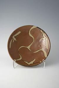 Plate, kaki glaze with wax resist brushwork