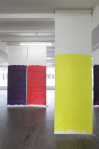Blind No. 16, Fifteen-foot ceiling or lower, (Cadmium Red Medium Hue/Anthraquinone Blue/Primary Yellow/Hansa Yellow Light)