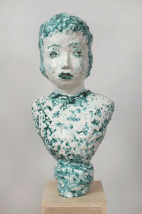 Majolica and Copper Portrait Bust with Twinkling Eyes