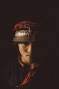 A portrait of a Hmong girl in the northern province of Ha Giang, Vietnam.