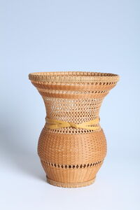 Bamboo Flower Basket with Bundled Plaiting (T-2298)