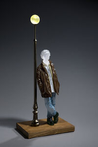 Man Leaning Against Lamp Post (Miniature)