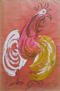 Rainbow Rooster in Salmon