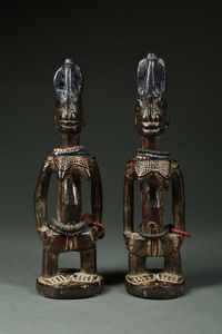 A Complex, Outstanding Quality, and Very Old Pair of Ibeji Twins Request Price