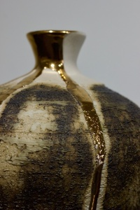 Textured Vase with Gold Lustre