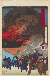 Eight Views of Warriors in the Provinces: Battle at Hakodate Harbor