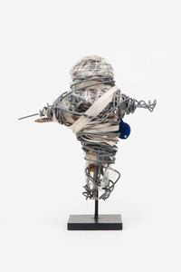 Untitled (Cartoon figure, plastic, nails and wire)