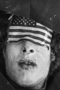 30th Rep Convention Miami 72 Man with eyes covered with US Flag, Miami, FL Miami, FL - August 23, 1972