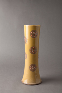 Straight vase, yellow glaze with pink polka dots