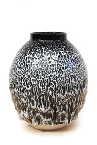 Blue, White, Black Oil Spot Glaze Vessel
