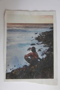 White Leather Series: Boy watching surfers, Waimea Bay