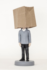 Bobble Head Doll of Hou Hanru with A Paper Bag Over His Head