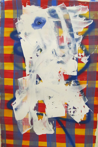 Untitled, Portrait With Blue Line and Drips