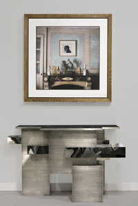 Chaflan Console Anthracite Nickel Plated Metal with Textures and Black marble