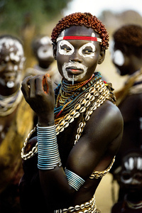 Karo Woman Wearing Cowrie Shell Necklace, Ethiopia