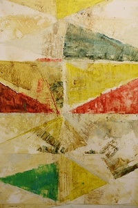 Untitled (Red, Gold and Green Triangles)