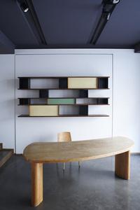 "Bookcase and ""Freeform"" desk"