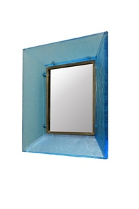 "Mirror with frame in turquoise ""corroso"" glass"