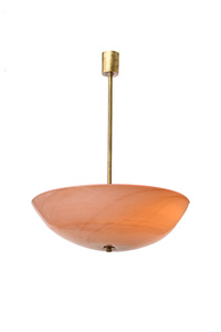 "Chandelier made of a big bowl in ""laguna"" glass and brass stem."