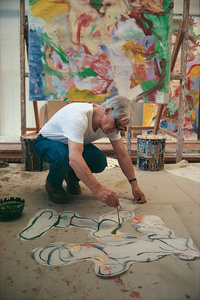 Willem De Kooning (1904-1997) with cartouche for painting in background, The Springs Studio, New York, 1968