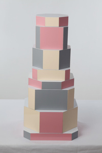 """Ziggurat Tower"" set of stacking boxes, Beqaa Pixels Edition"