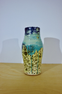 Small Vase - Green & Yellow with Blue Top
