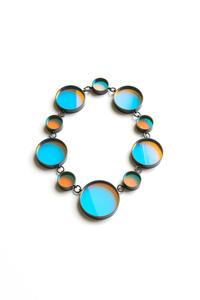 Bi necklace (cyan /orange)