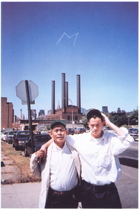 "M, The letter ""M"" written in smoke above Mahanttan with Medalla and Nankervis invoking the spirit of Mondrian, 1994"