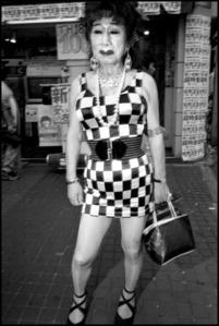 Transvestite outside bar, Shinjuku, Tokyo,