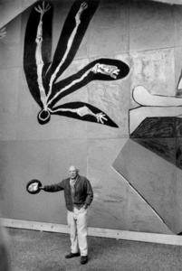 Pablo Picasso at the inauguration of his mural for the Paris UNESCO building