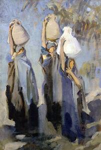 Bedouin Women Carrying Water Jars