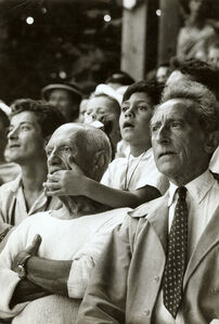Pablo Picasso, Son Claude and Jean Cocteau at a Bullfight, Vallauris, France