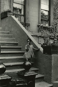 Girl on Steps of Building with Ivy, New York