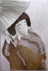 Woman with Umbrella, Silver Face