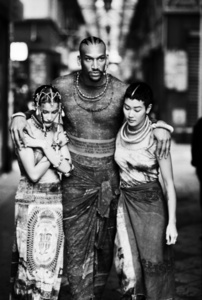 "Survivors (Laetitia Casta, Vladimir McCary, Jenny Shimizu) (Jean Paul Gaultier's ""Tattoos"" women's spring-summer ready-to-wear collection of 1994)"