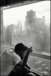 Sammy Davis Jr. looks out of a Manhattan window. New York