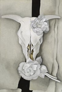 Cow's Skull with Calico Roses