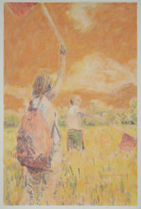 Two Figures Two Flags (study)