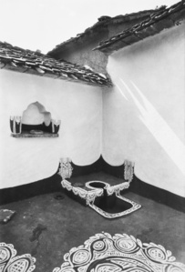 An open-air kitchen stove or choola in a courtyard of a village house, Rajasthan
