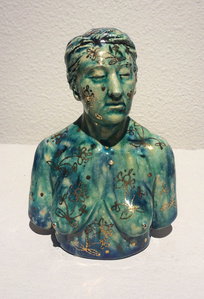 Glossy Female Bust w/Gold Floral Pattern