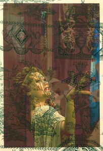 Wax Statue of Gloria Swanson as Norma Desmond Hollywood (on green Empire toile)