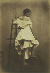 Model in White Dress with Easel