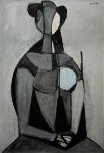 Seated Figure, Grey Background (Figura seduta, fondo grigio)