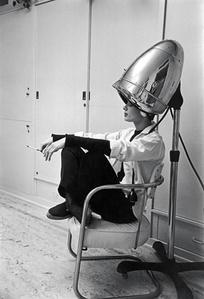 Audrey Hepburn Under The Dryer Holding Cigarette