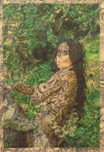 Demi Moore Hair and Tree Stump Los Angeles (on navy and beige floral toile)